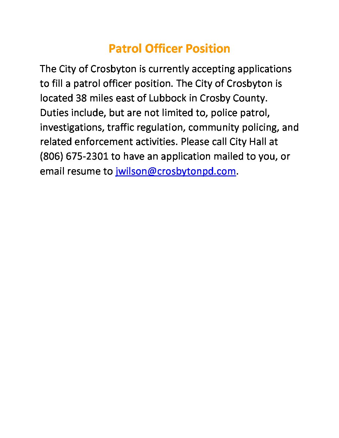 Police Officer Position